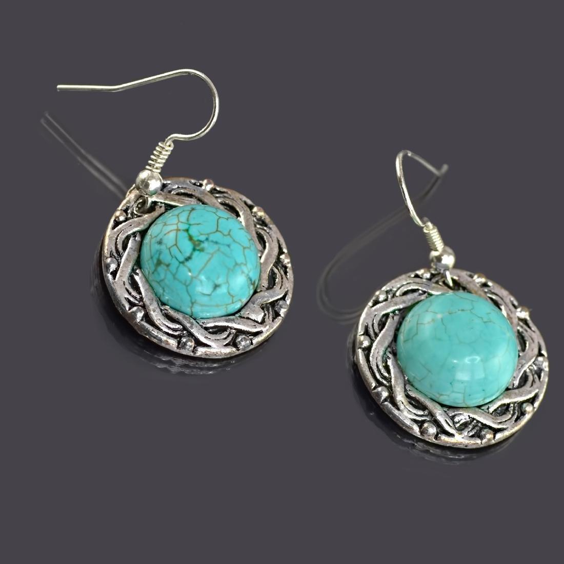 Ethnic Style Turquoise Howlite Earrings - 2