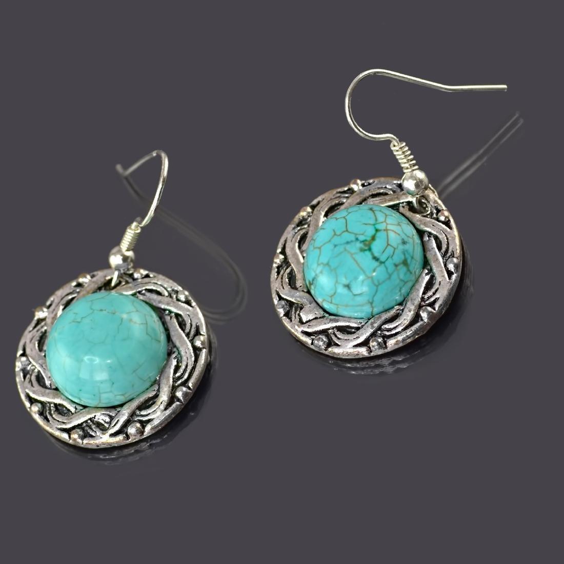 Ethnic Style Turquoise Howlite Earrings - 3