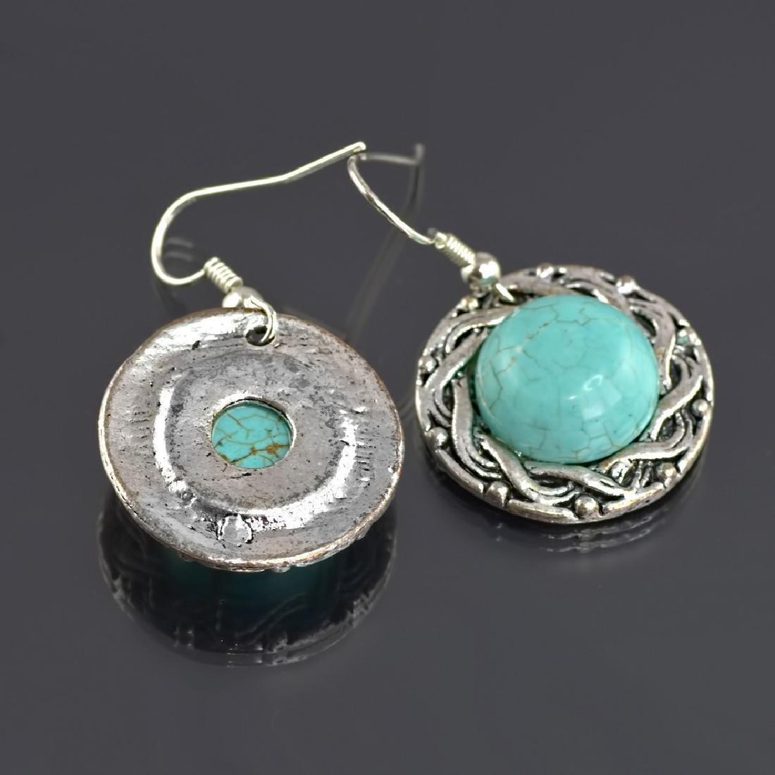 Ethnic Style Turquoise Howlite Earrings - 4
