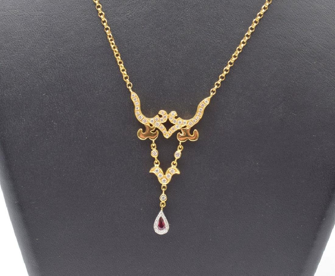 18 carat yellow gold necklace with diamon and ruby