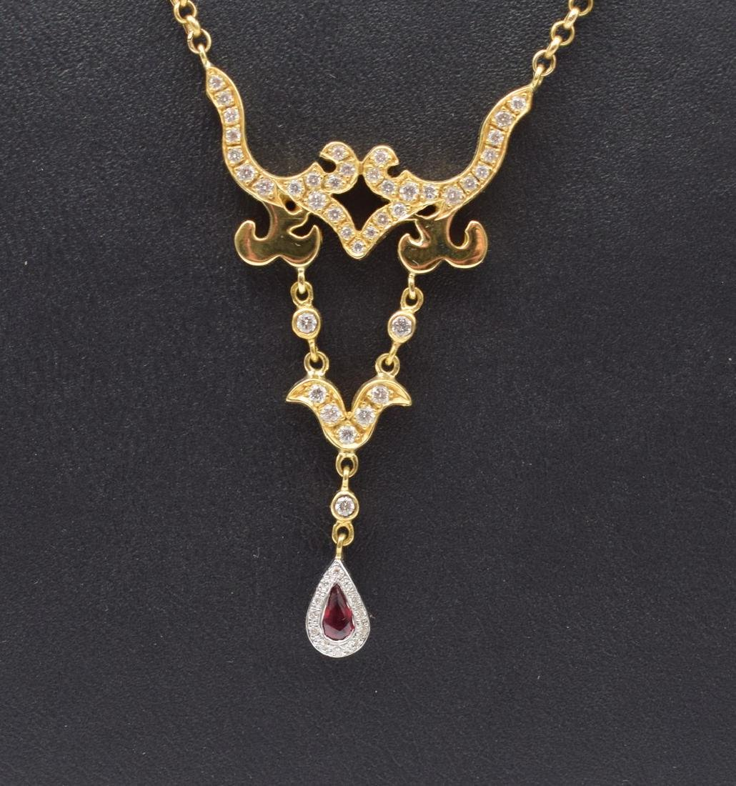 18 carat yellow gold necklace with diamon and ruby - 2