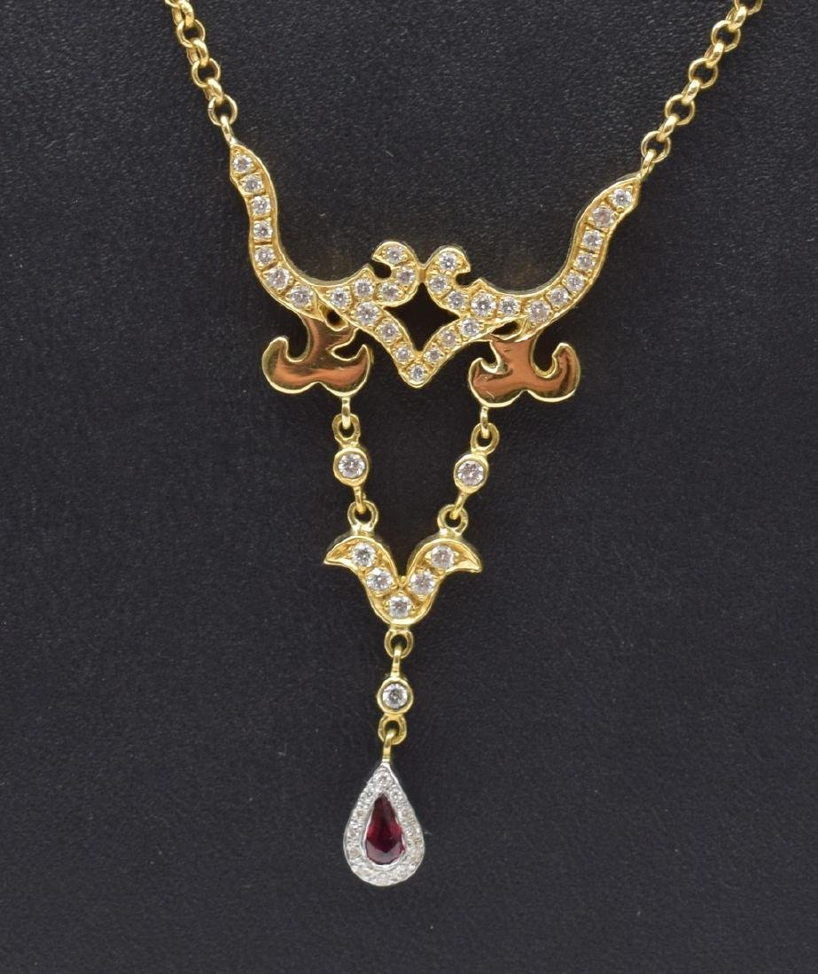 18 carat yellow gold necklace with diamon and ruby - 3