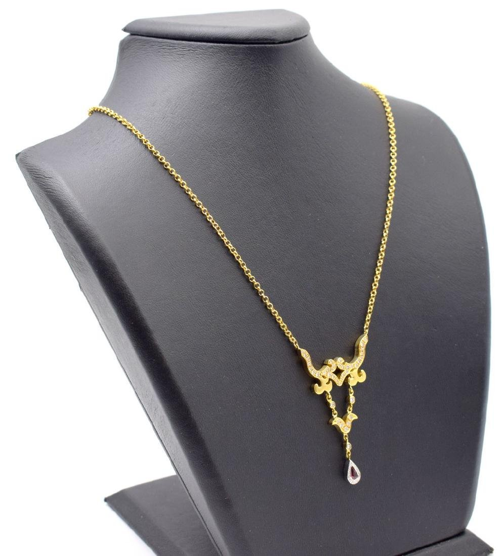 18 carat yellow gold necklace with diamon and ruby - 4