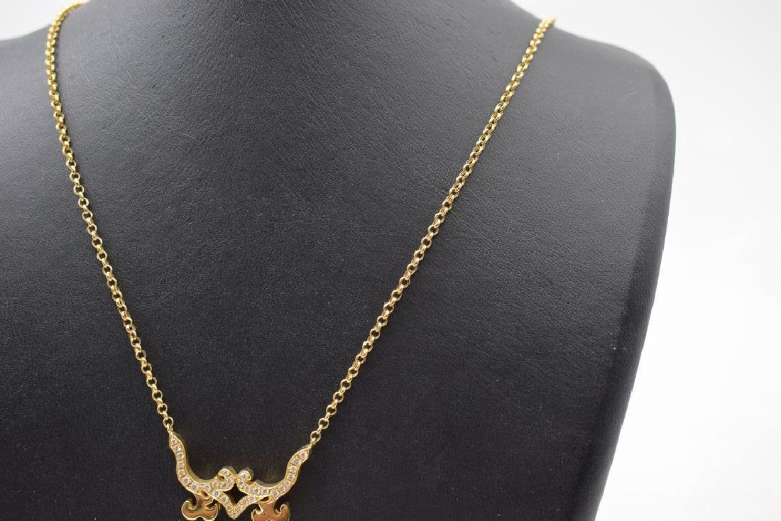 18 carat yellow gold necklace with diamon and ruby - 6
