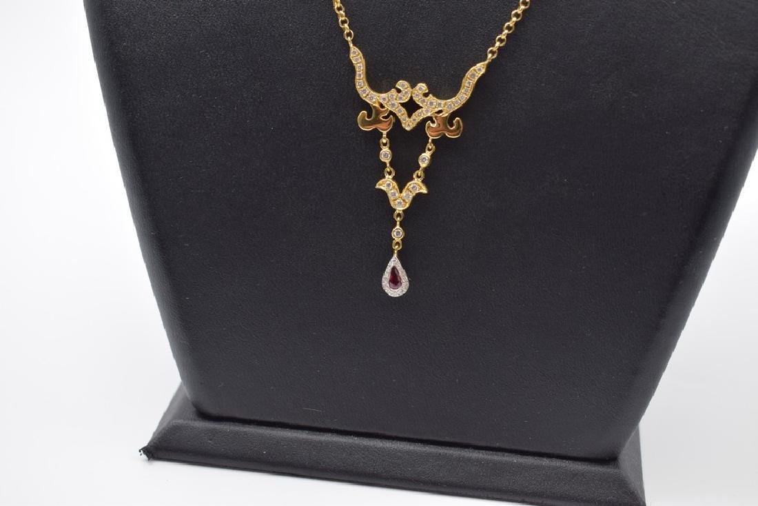 18 carat yellow gold necklace with diamon and ruby - 8