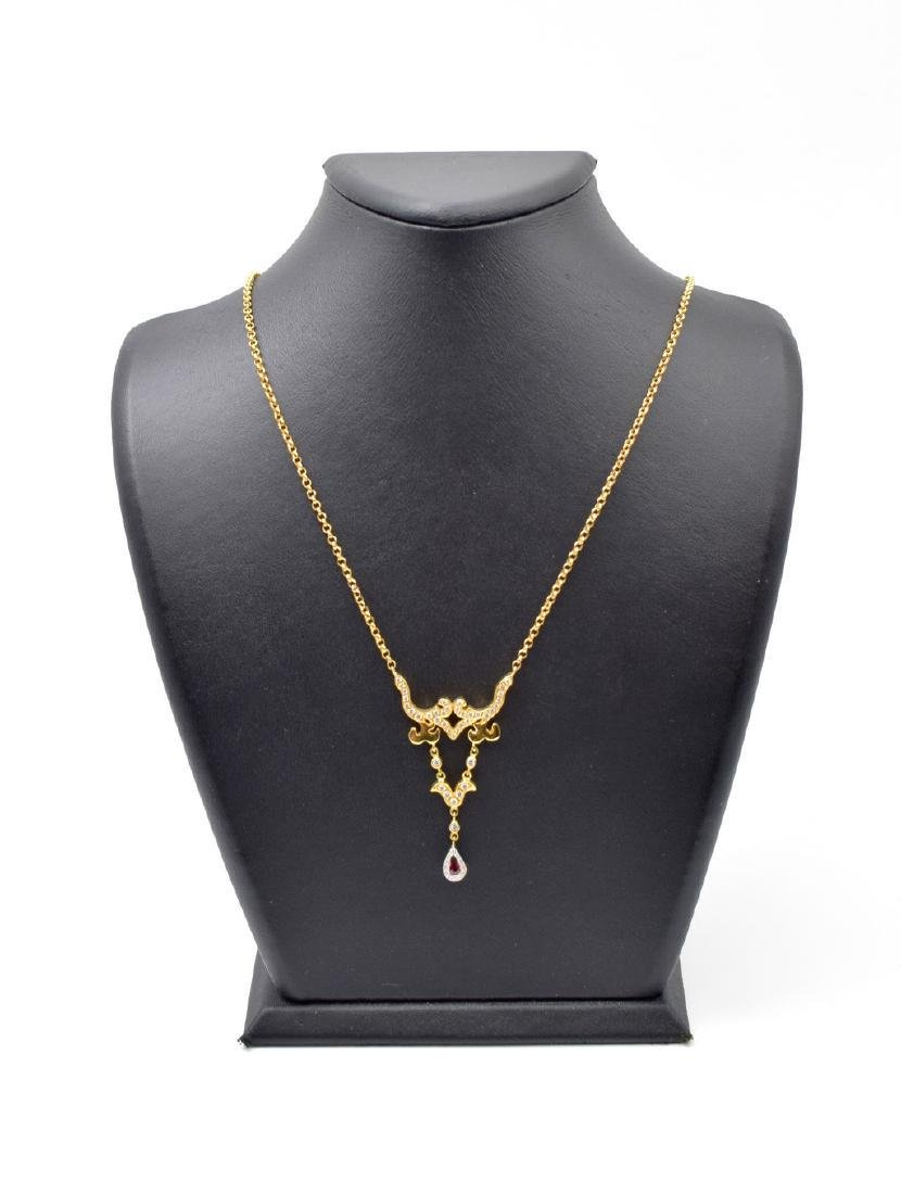 18 carat yellow gold necklace with diamon and ruby - 9