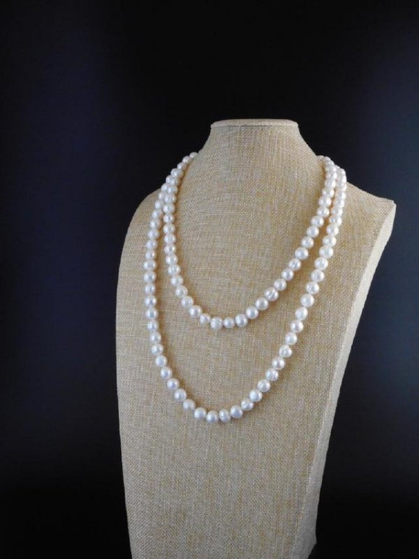 Pearl necklace of white baroque cultured - 3