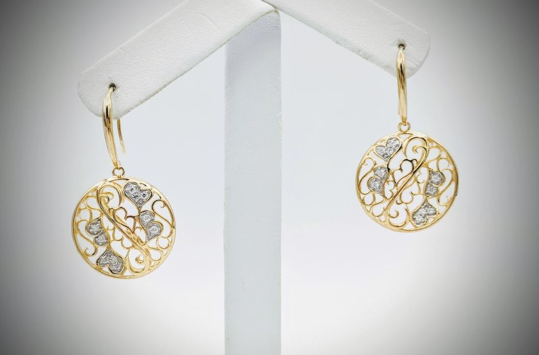 Gold Plated Swirling Hearts Earrings with Cubic