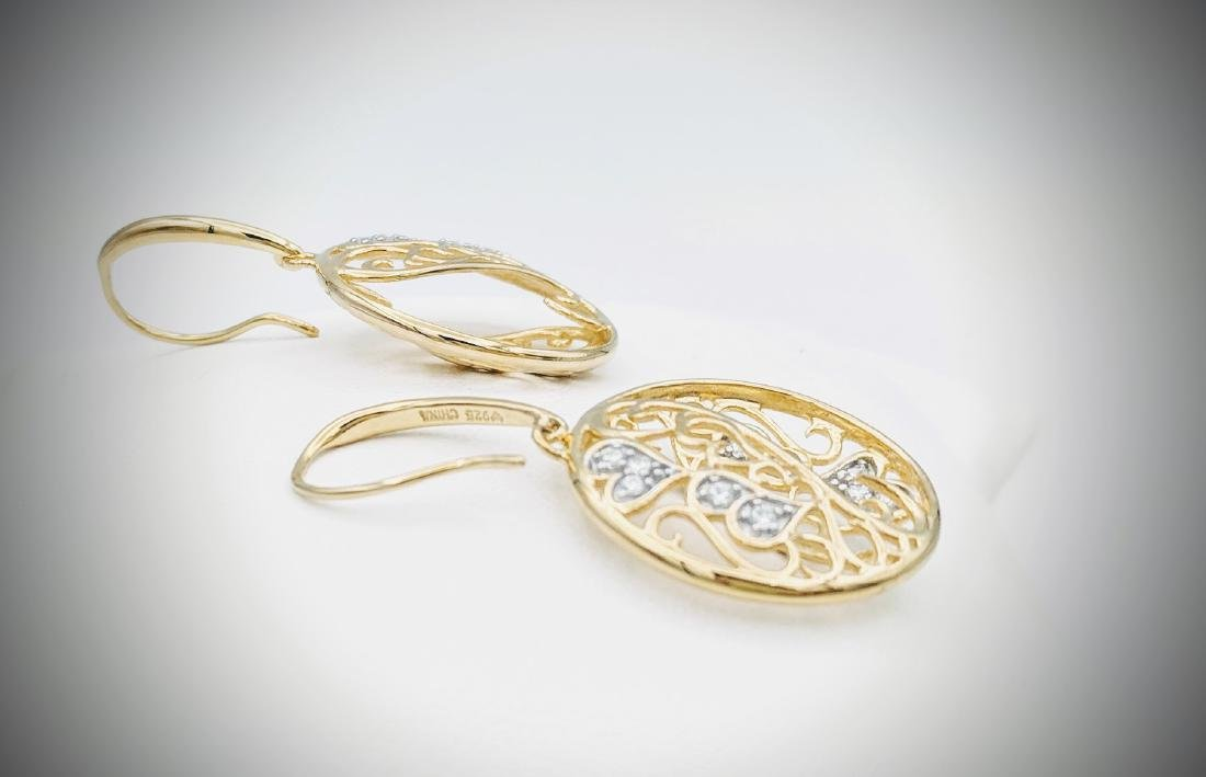 Gold Plated Swirling Hearts Earrings with Cubic - 2