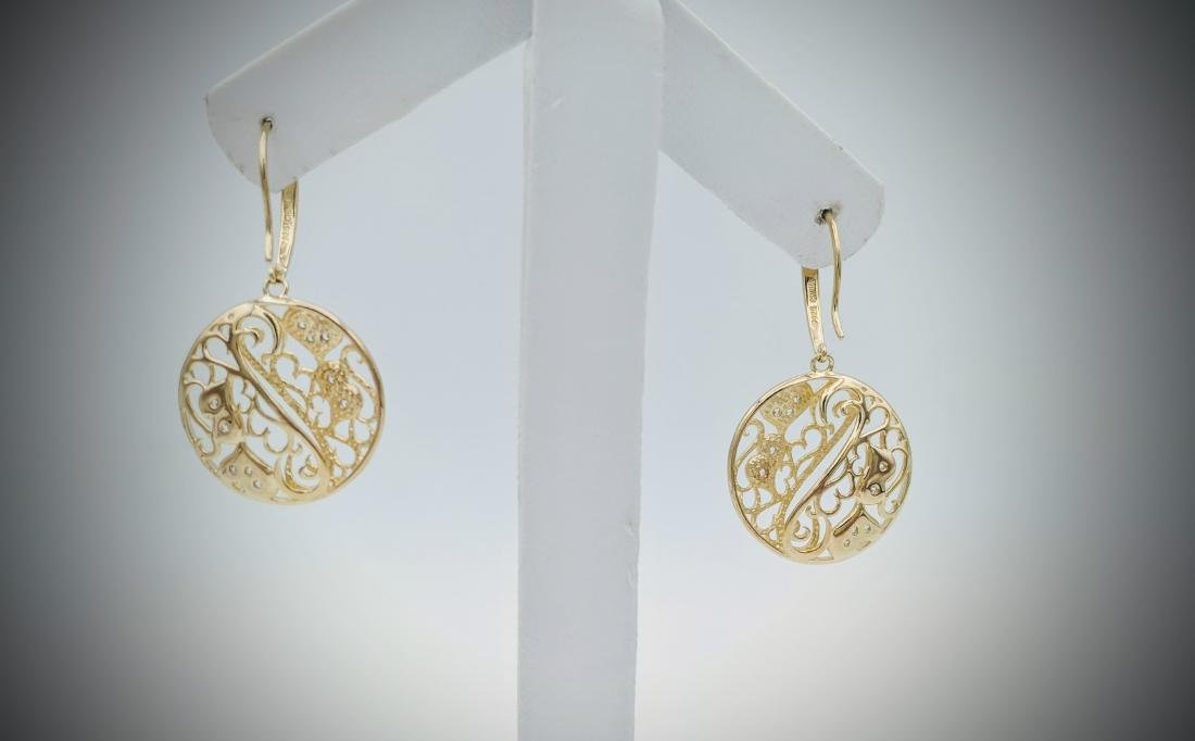Gold Plated Swirling Hearts Earrings with Cubic - 3