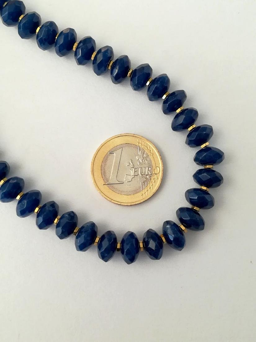 Blue sapphire necklace separated by hematite with gold - 3