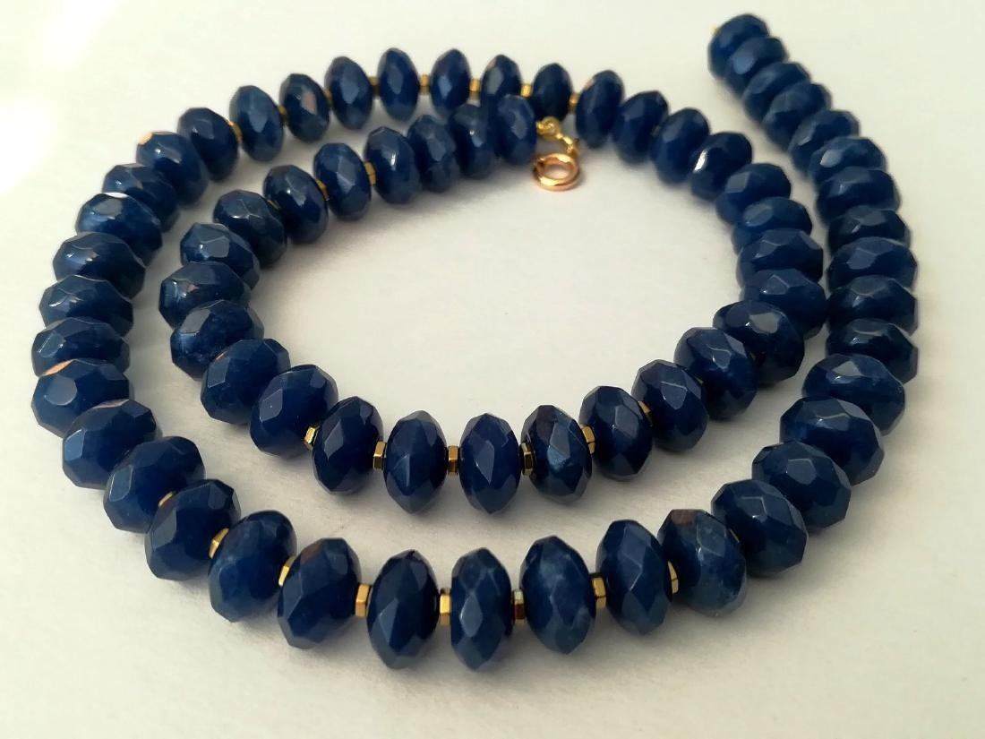 Blue sapphire necklace separated by hematite with gold - 4