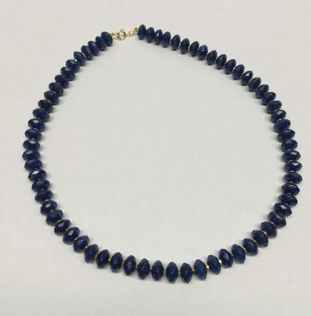 Blue sapphire necklace separated by hematite with gold - 6