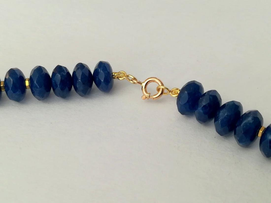 Blue sapphire necklace separated by hematite with gold - 7