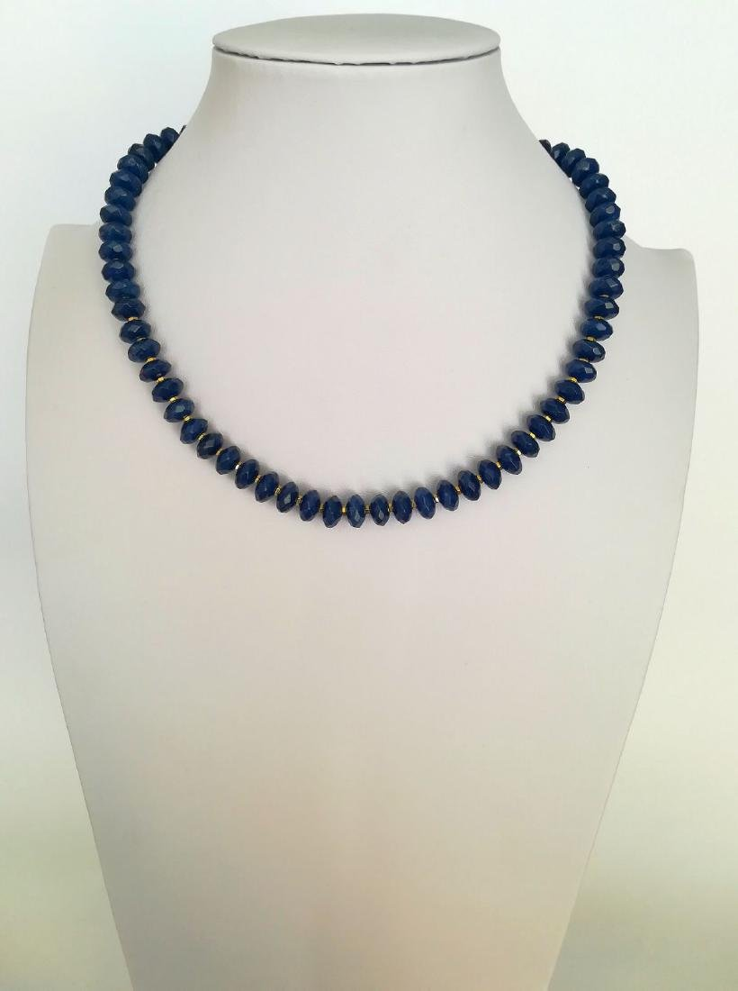 Blue sapphire necklace separated by hematite with gold - 9