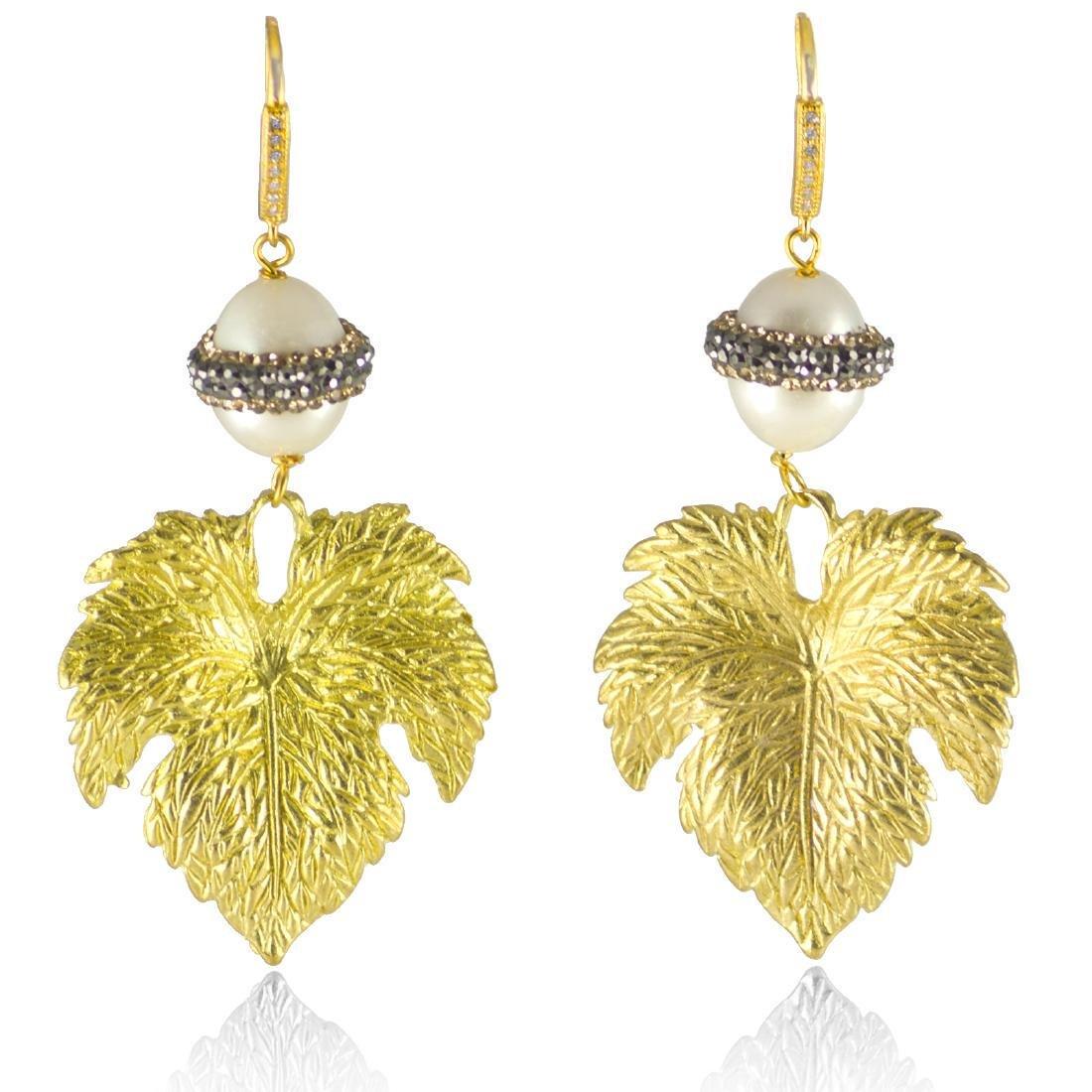 Sparkling Pearl Leaf Earrings