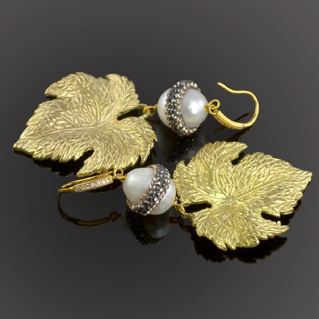 Sparkling Pearl Leaf Earrings - 3