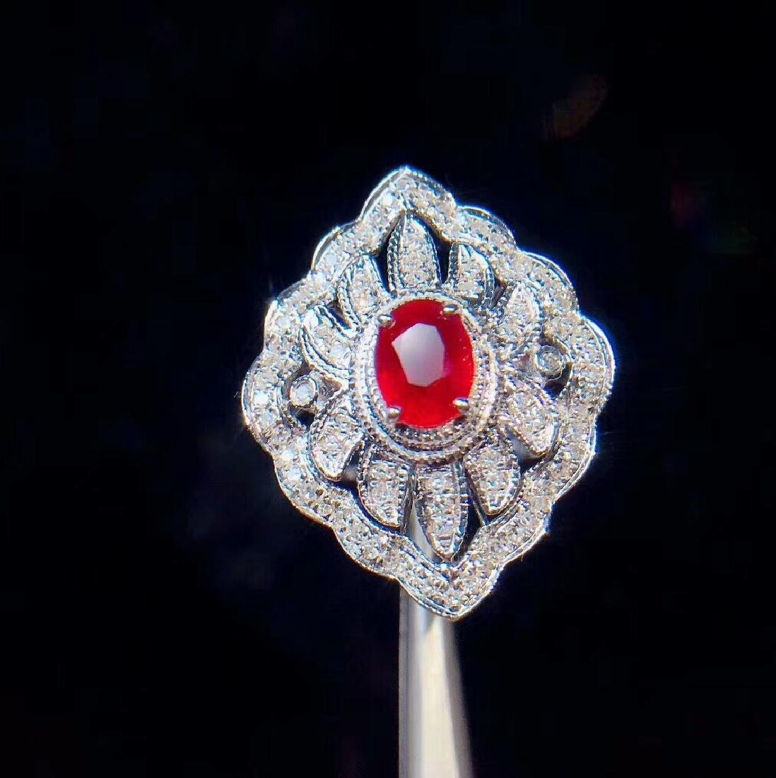 1.05ct Ruby Ring in 18kt white Gold