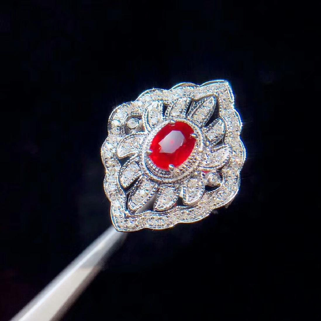 1.05ct Ruby Ring in 18kt white Gold - 3