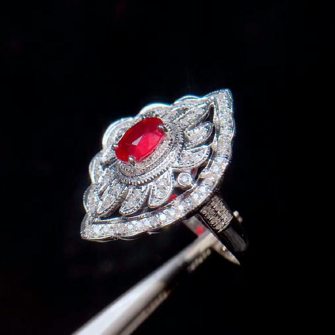 1.05ct Ruby Ring in 18kt white Gold - 5