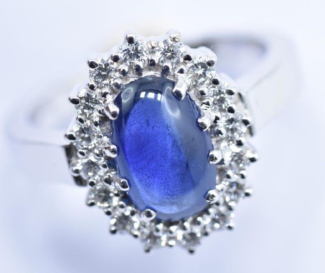 2.97 CTW Natural Blue Sapphire And Diamond Ring In 14