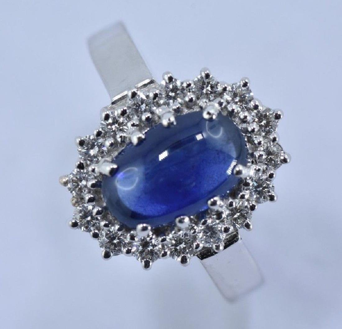 2.97 CTW Natural Blue Sapphire And Diamond Ring In 14 - 3