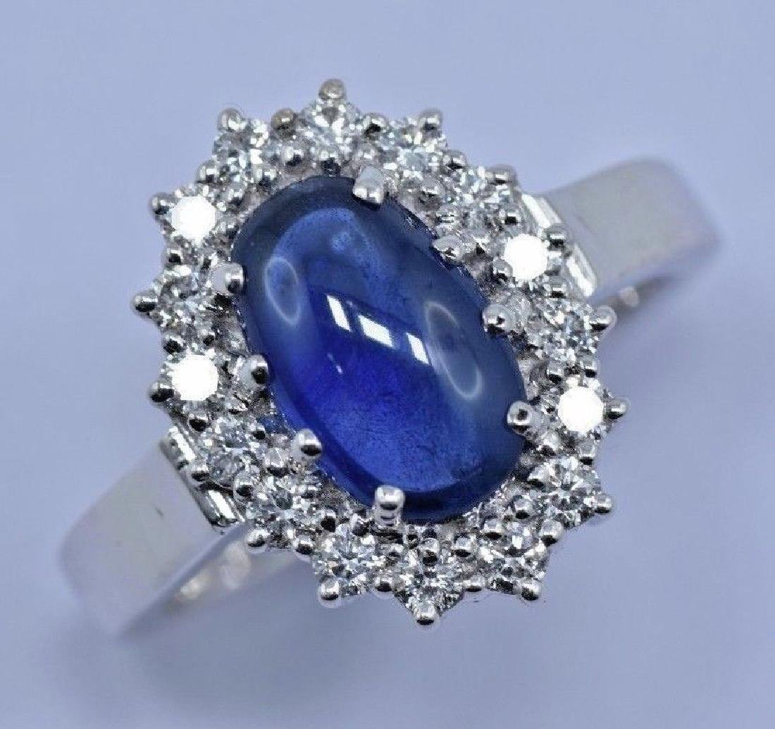 2.97 CTW Natural Blue Sapphire And Diamond Ring In 14 - 4