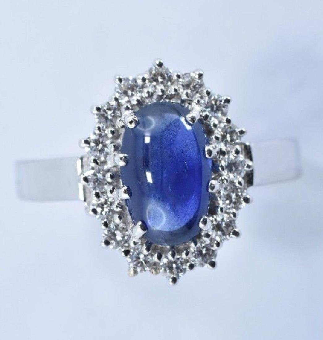 2.97 CTW Natural Blue Sapphire And Diamond Ring In 14 - 5