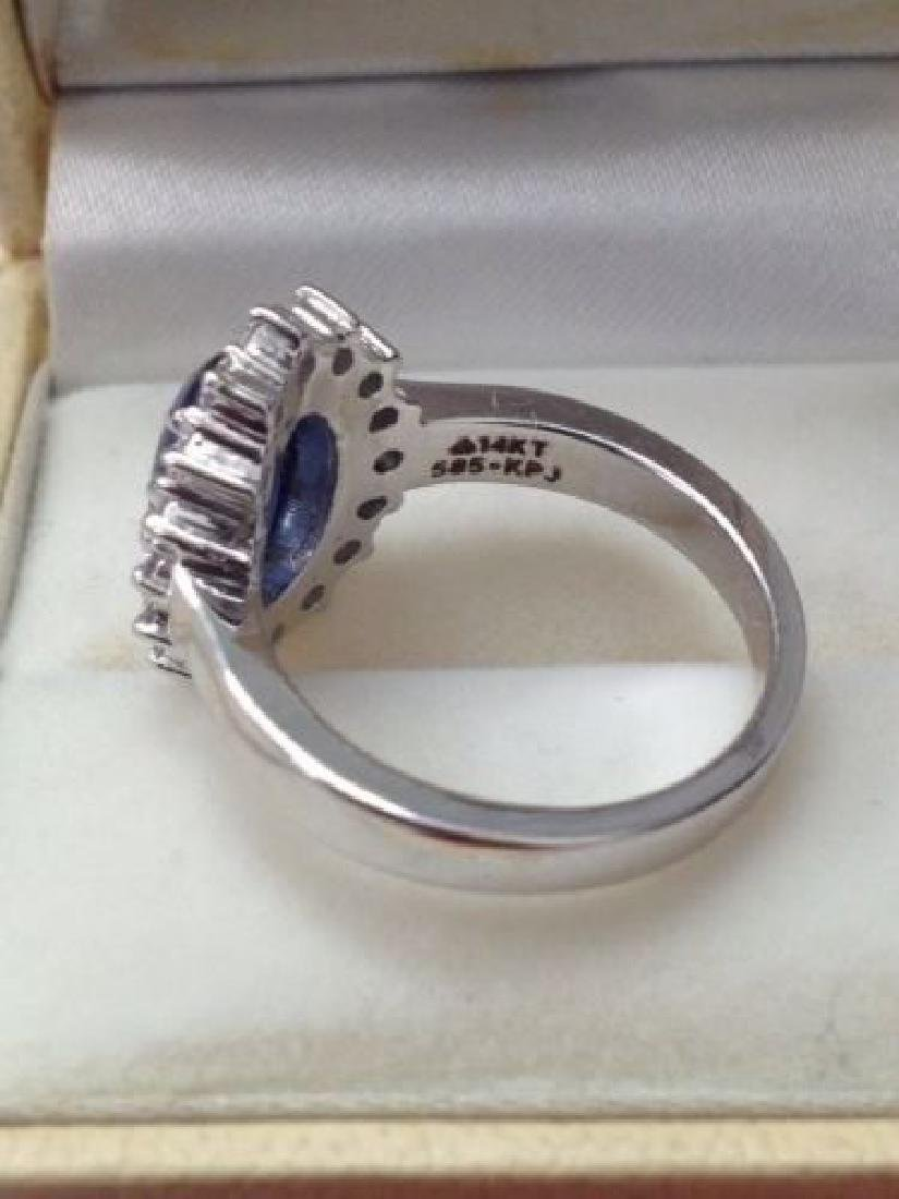 2.97 CTW Natural Blue Sapphire And Diamond Ring In 14 - 6