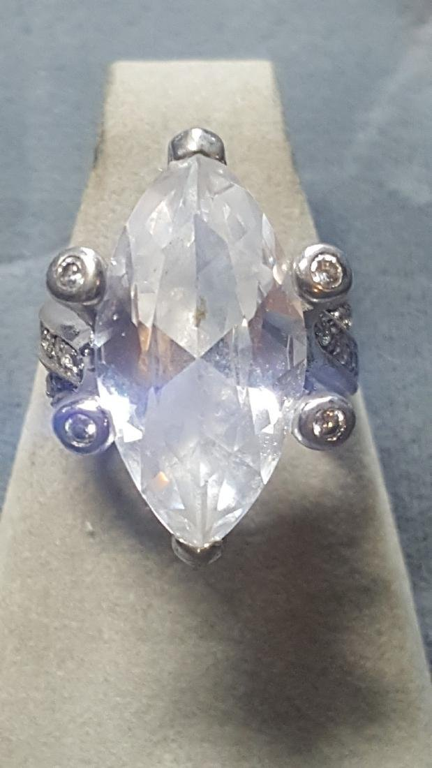 925 Marquise Glass Cut Statement