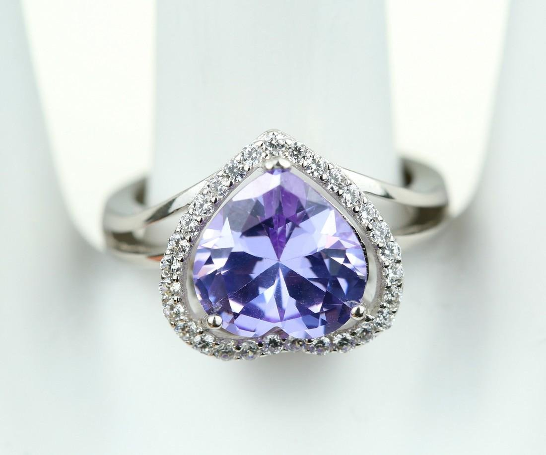 Exquisite 925 silver ring with zircon - 5
