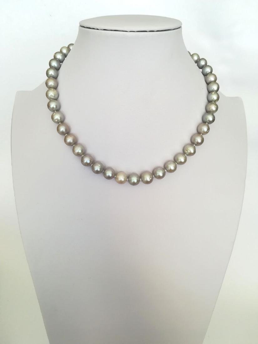 Necklace pearl salted water with gold clasp 19.2 carat - 5