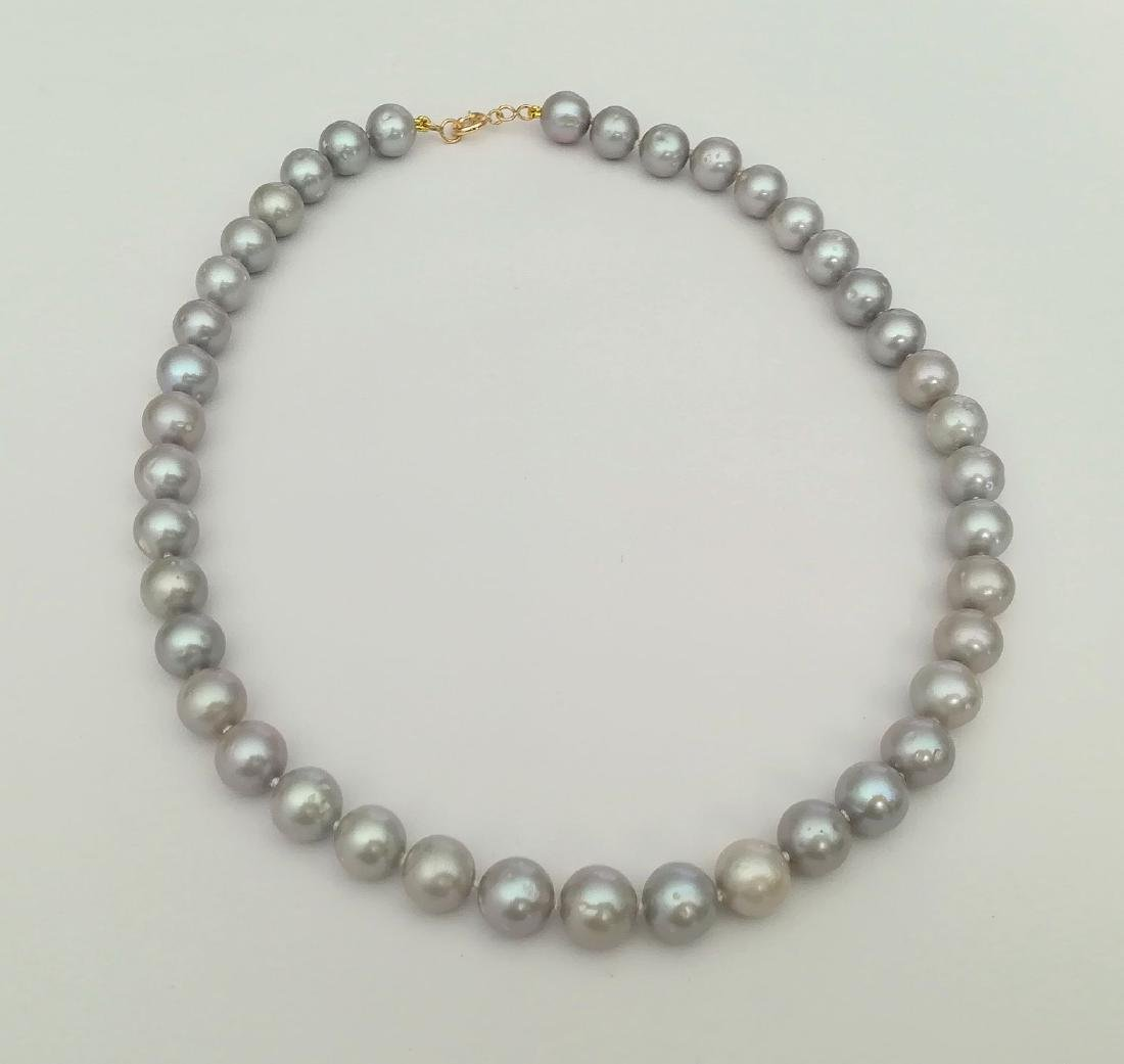 Necklace pearl salted water with gold clasp 19.2 carat - 8