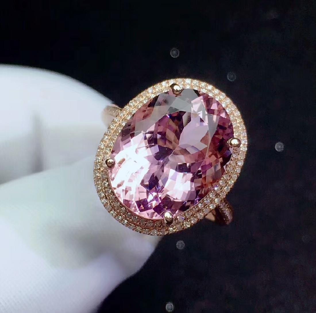 8.9ct Morganite Ring in 18kt white Gold - 3