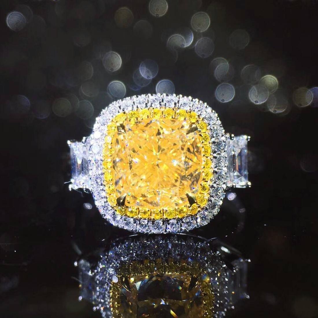 2.01 CTW Yellow Diamond & VS Diamond Ring 18K