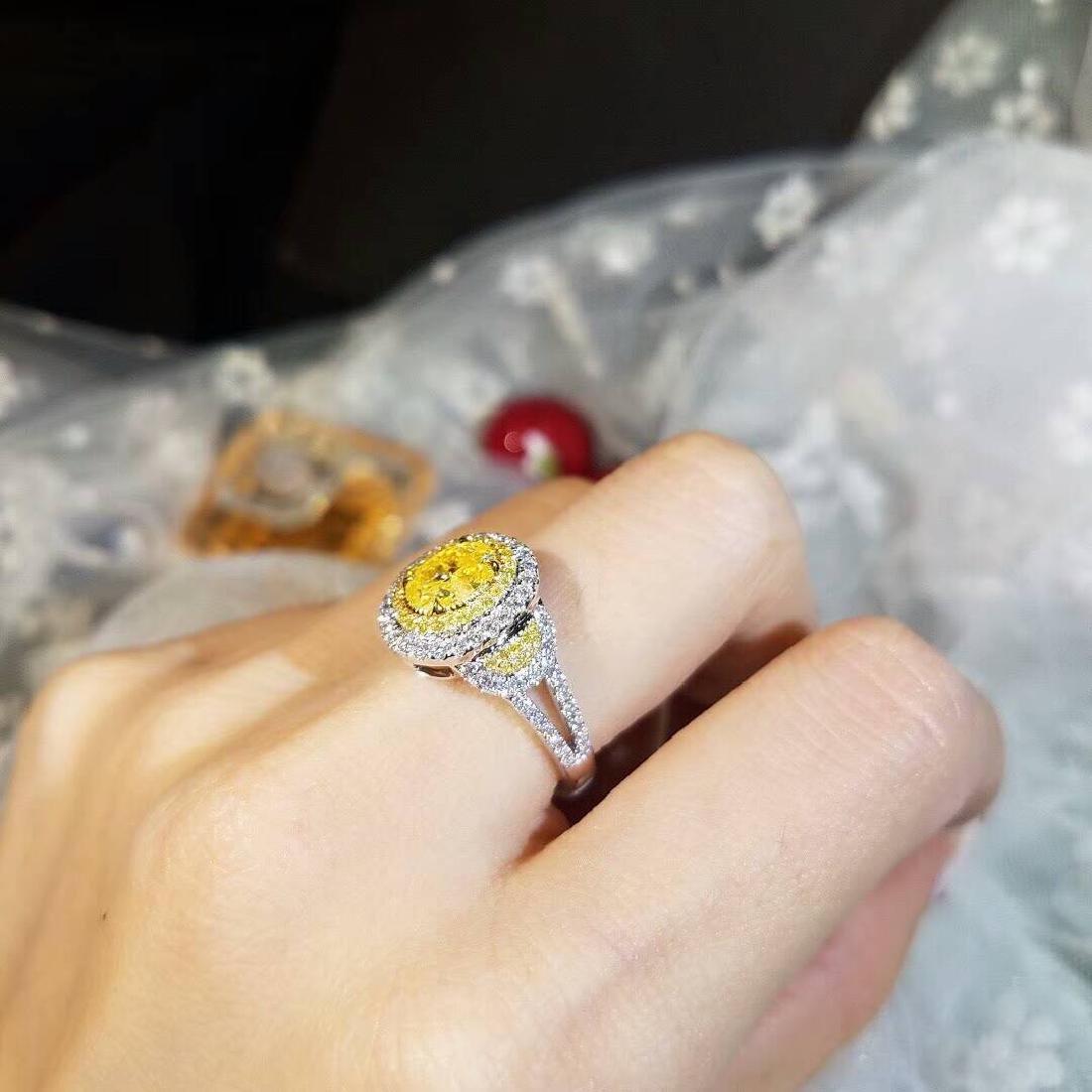 2.01 CTW Yellow Diamond & VS Diamond Ring 18K - 2