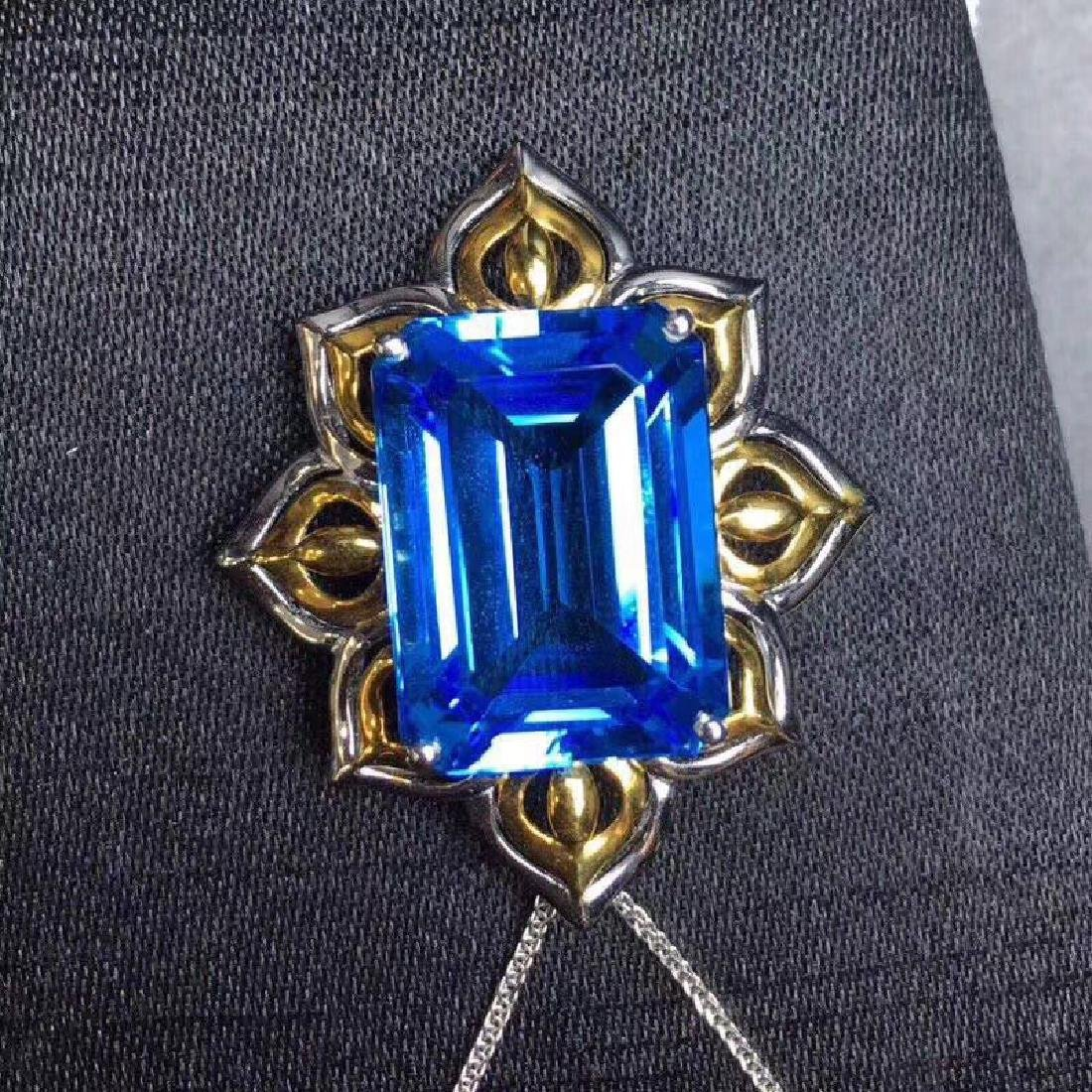 20.90 CTW Topaz & VS Diamond Pendant 18K - 2