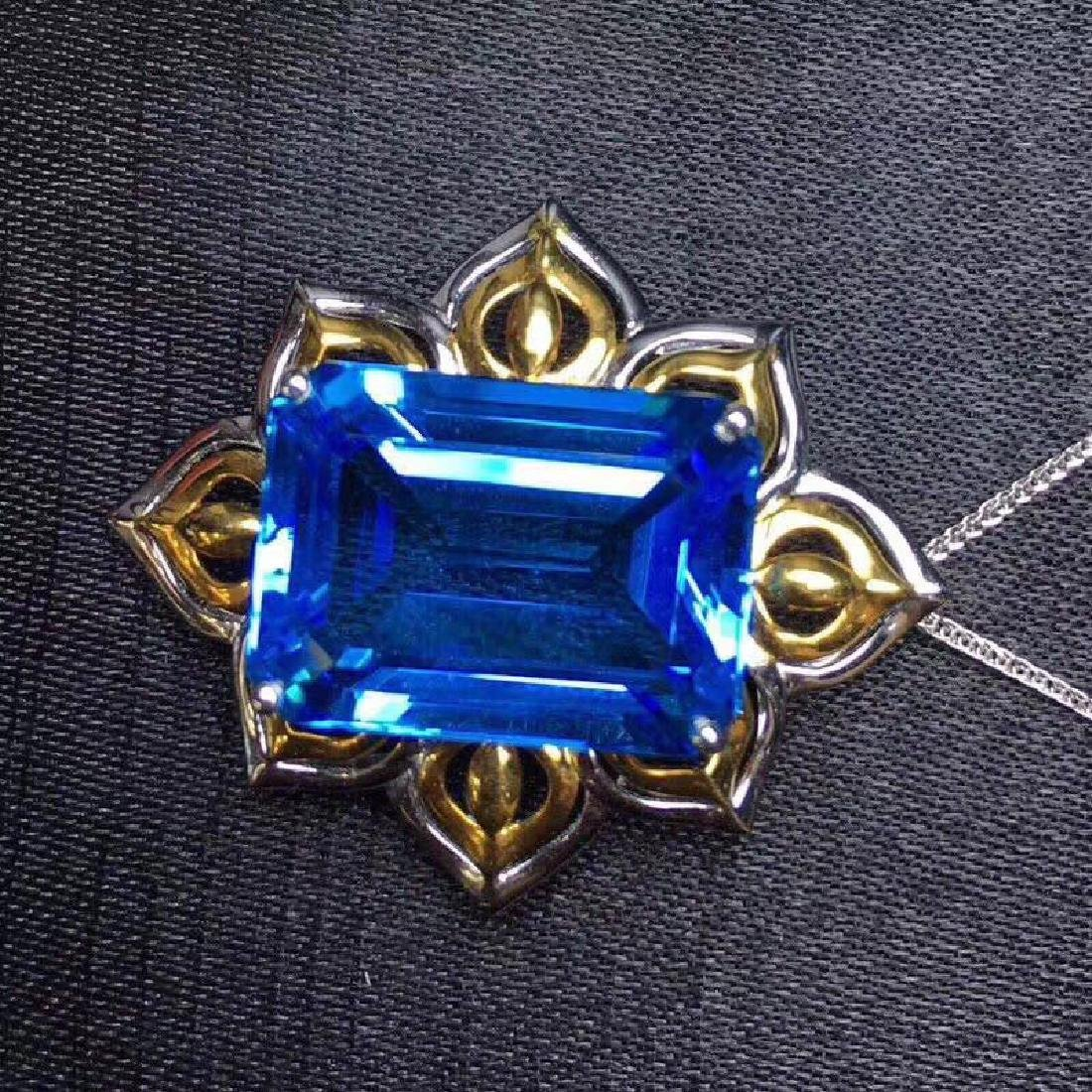 20.90 CTW Topaz & VS Diamond Pendant 18K - 7