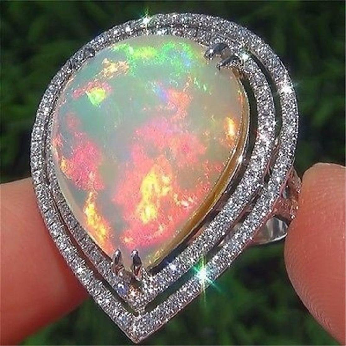 925 Silver Ring Fire Opal Size 10