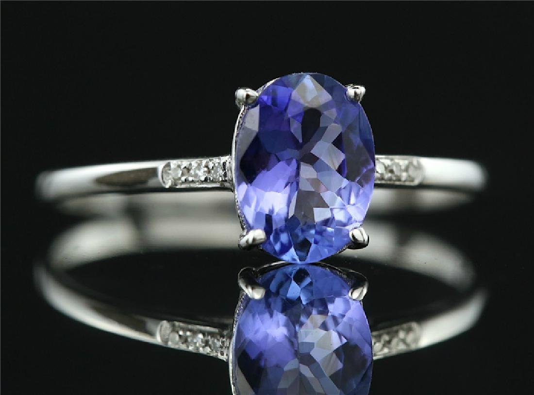Tanzanite ring with 18k white gold - 2