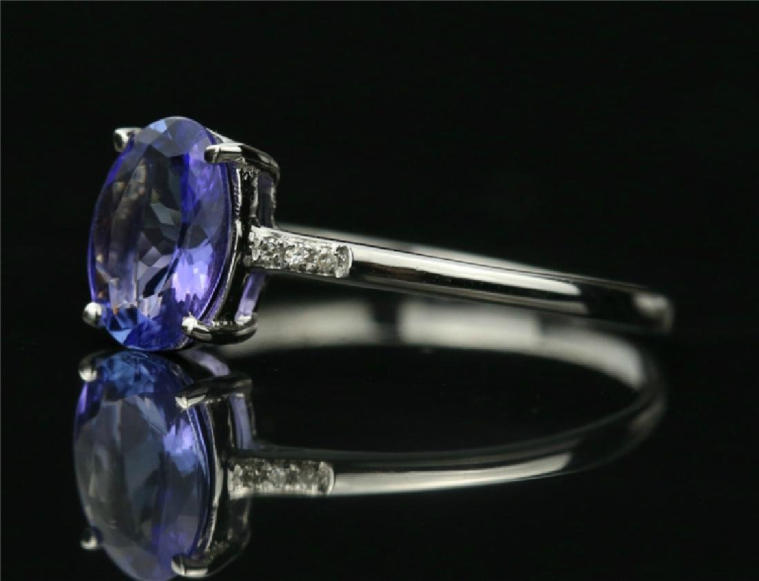 Tanzanite ring with 18k white gold - 3