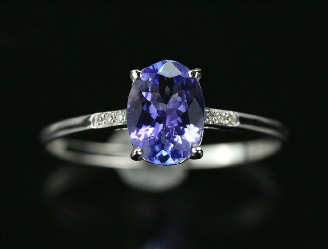 Tanzanite ring with 18k white gold - 5