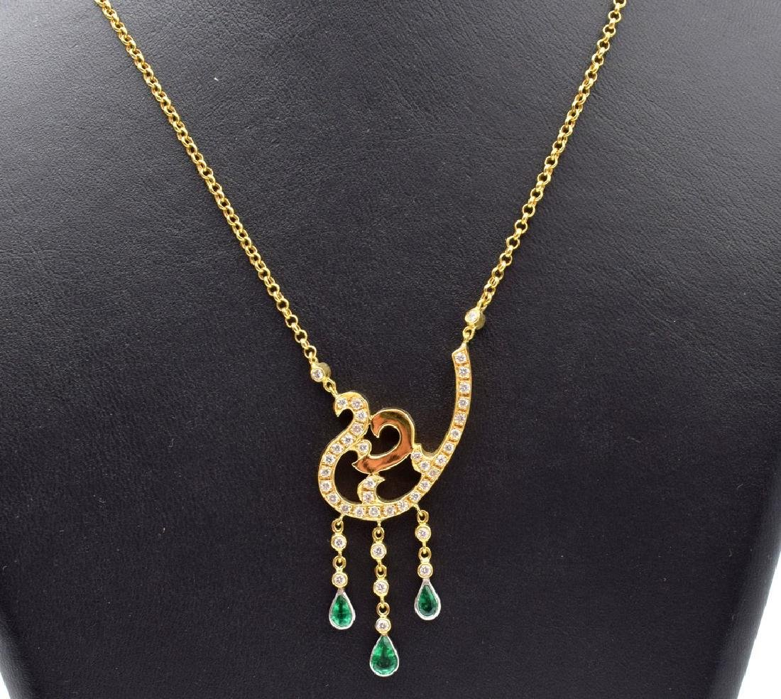 18 carat yellow gold necklace with diamond and emerald - 4