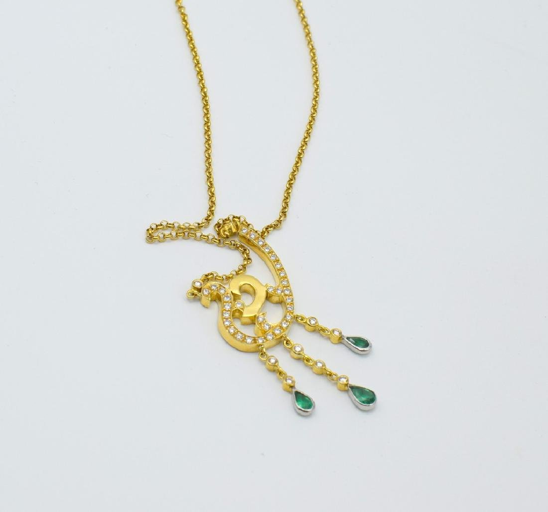 18 carat yellow gold necklace with diamond and emerald - 6