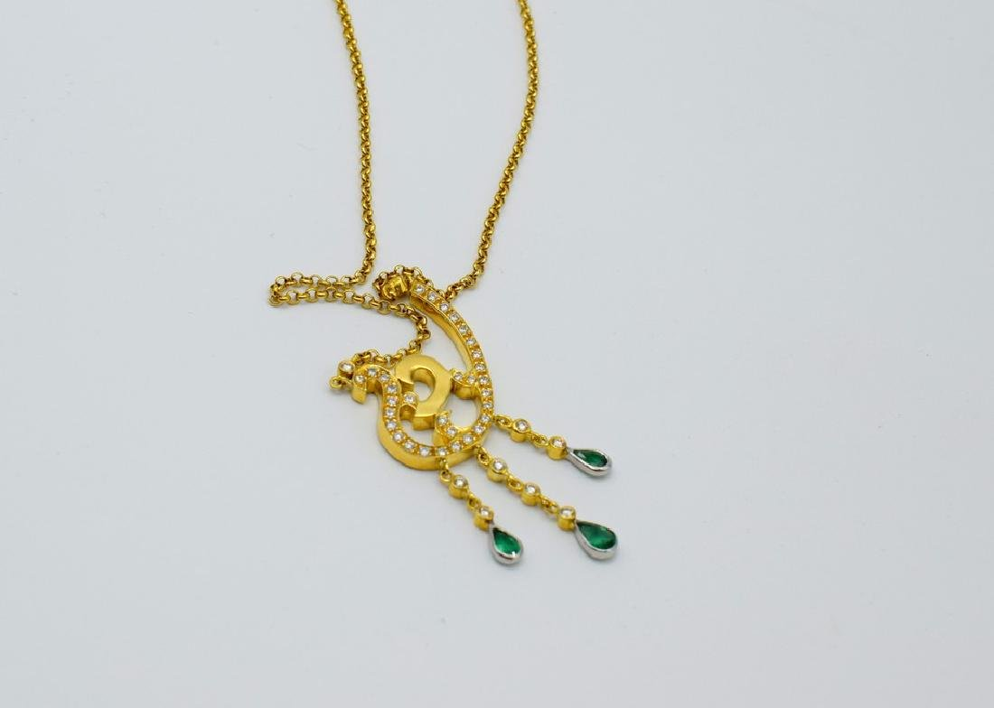 18 carat yellow gold necklace with diamond and emerald - 7