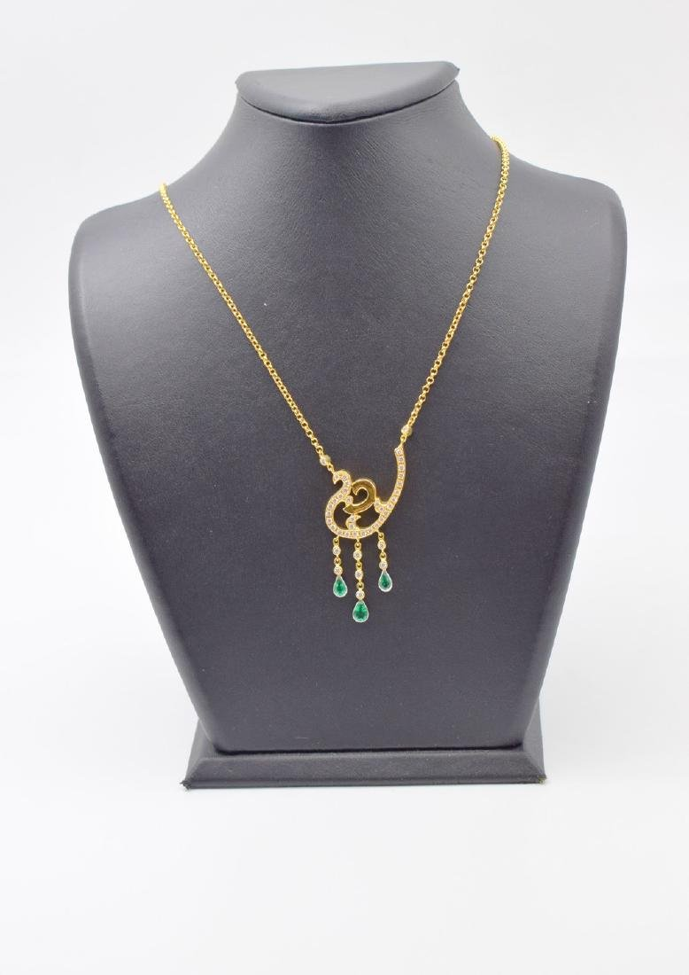 18 carat yellow gold necklace with diamond and emerald - 8