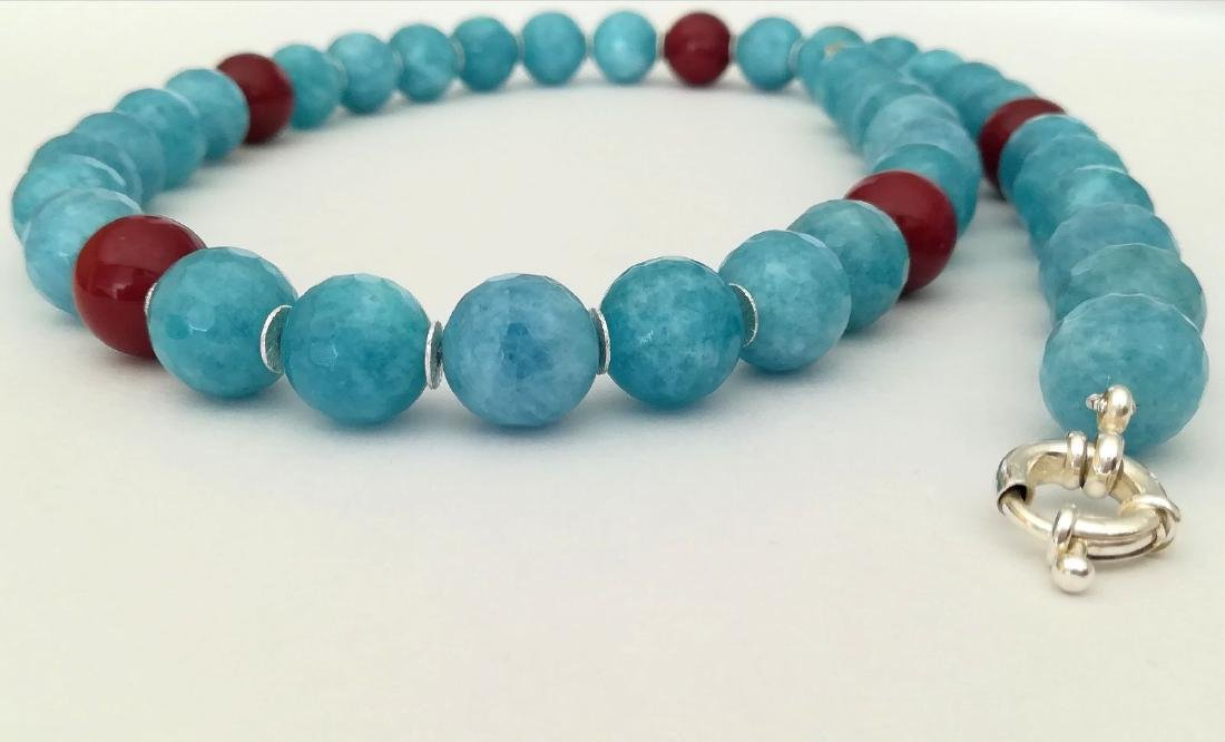 14mm Aquamarine Stone Necklace and 14mm Ruby Stone with