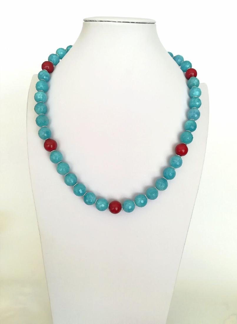 14mm Aquamarine Stone Necklace and 14mm Ruby Stone with - 2
