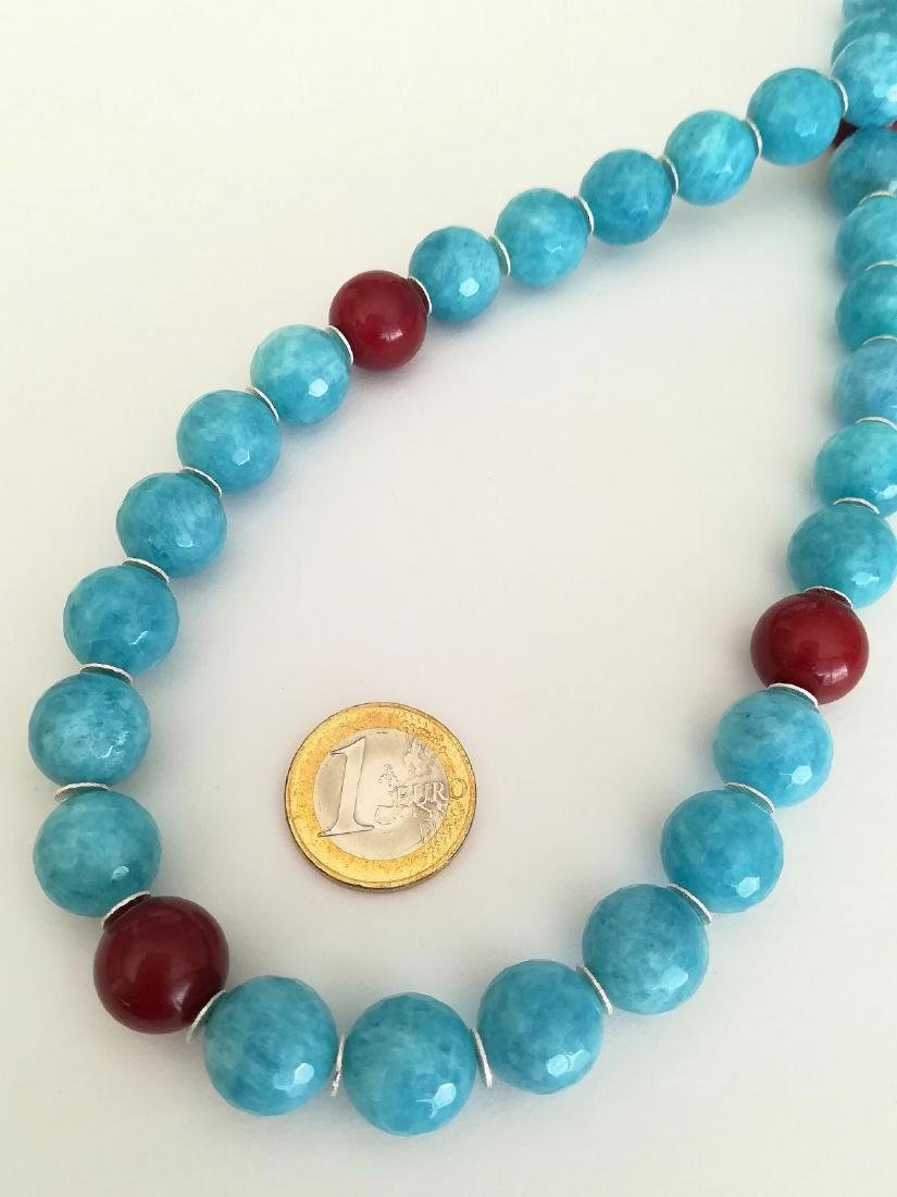 14mm Aquamarine Stone Necklace and 14mm Ruby Stone with - 3