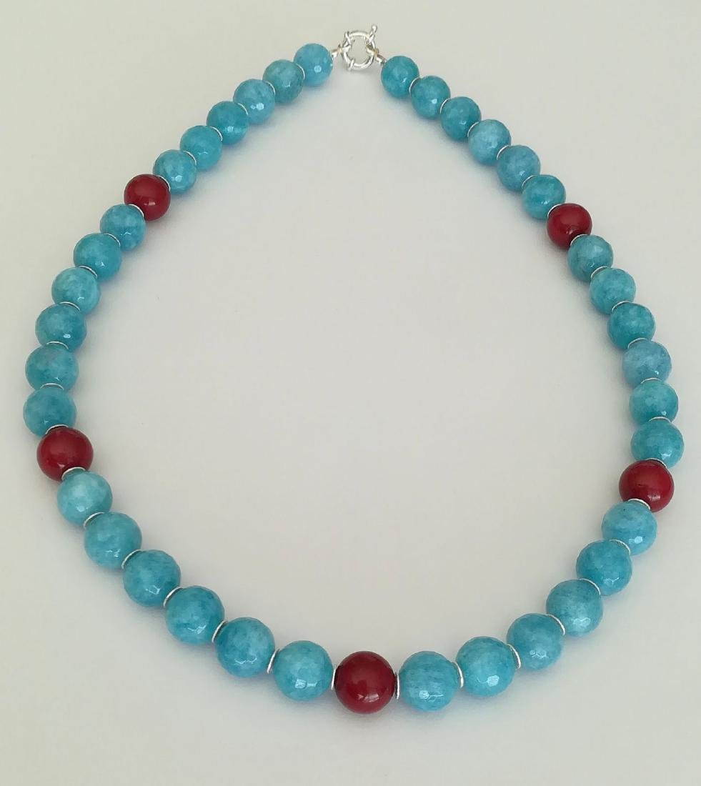 14mm Aquamarine Stone Necklace and 14mm Ruby Stone with - 4